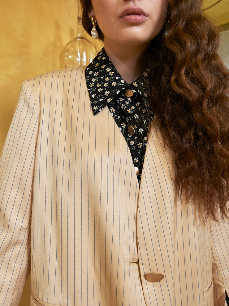Pacific Stripe Collarless Blazer