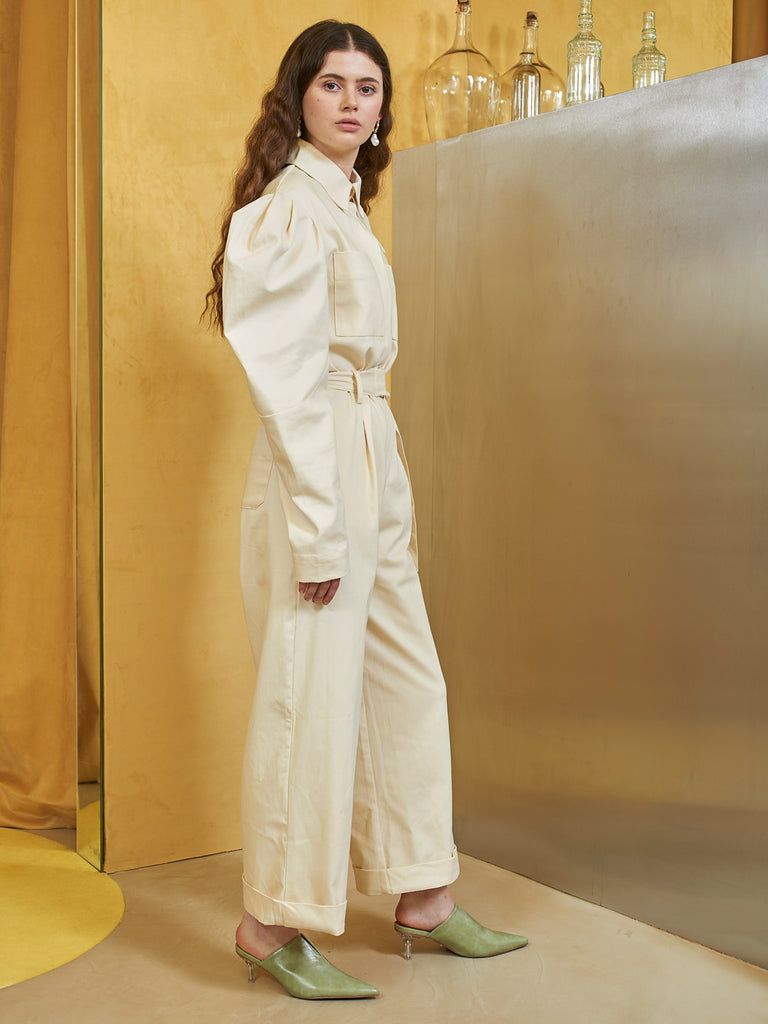 White Horse Jumpsuit with Belt