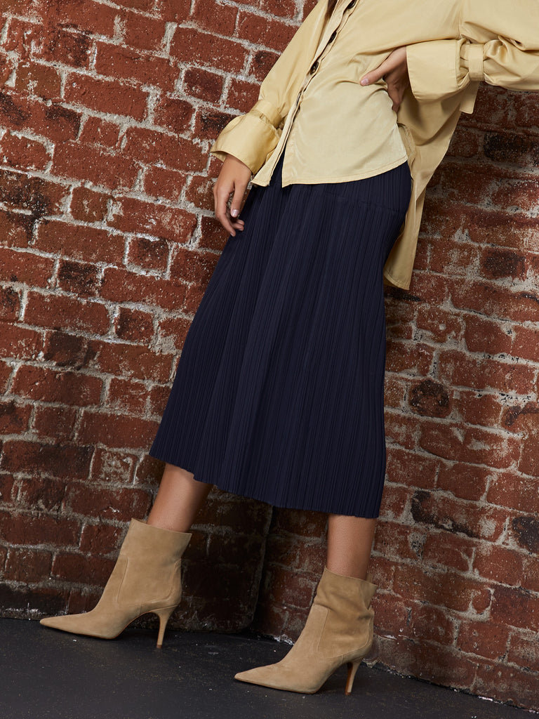 Raid Pleated Midi Skirt
