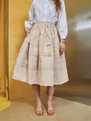 Sand Dollar Pleated Midi Skirt