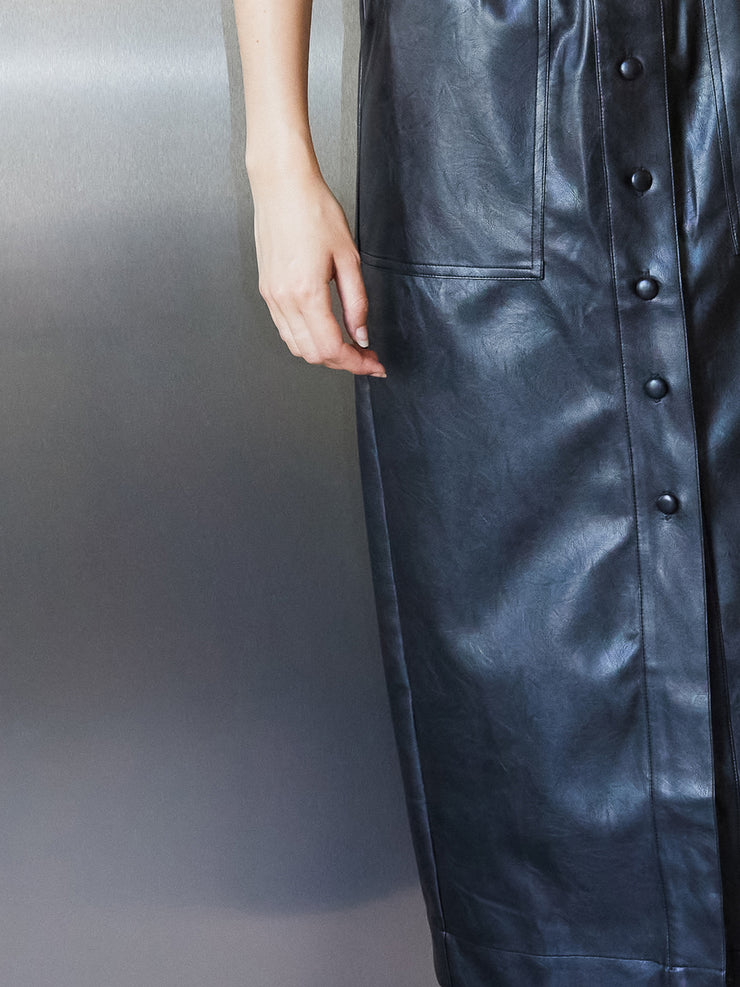 Off-air Faux Leather Midi Skirt