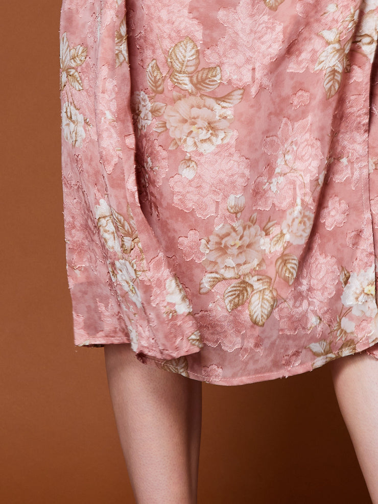 Ornate Floral Midi Wrap Skirt