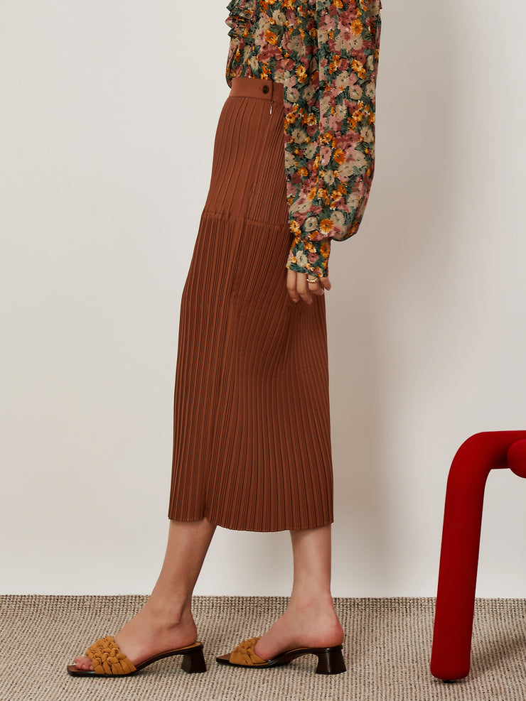 Industry Pleated Midi Skirt