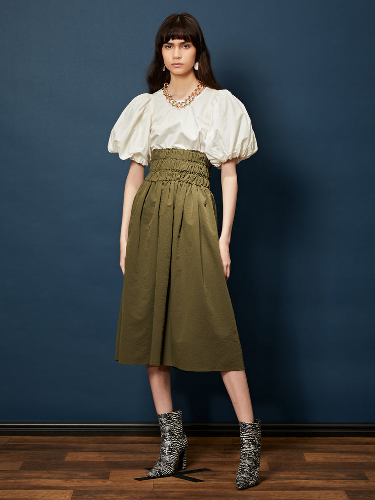 Bravo Shirring Midi Skirt