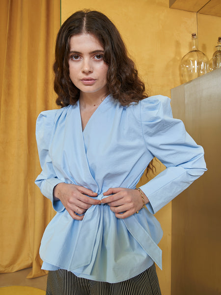 Arctic Blue Belted Wrap Top