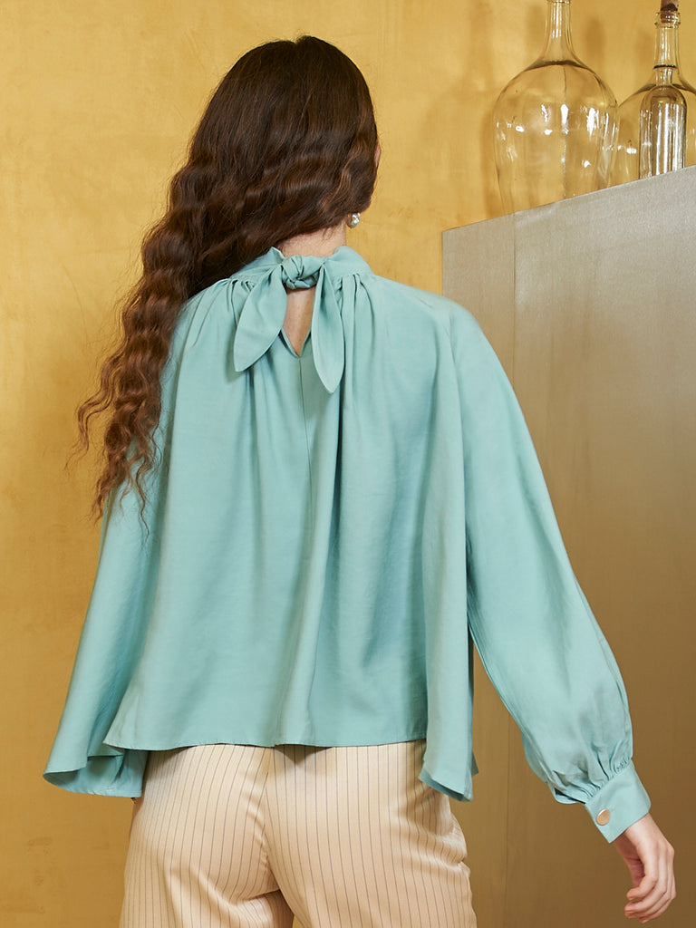 Ocean Blue High Neck Top
