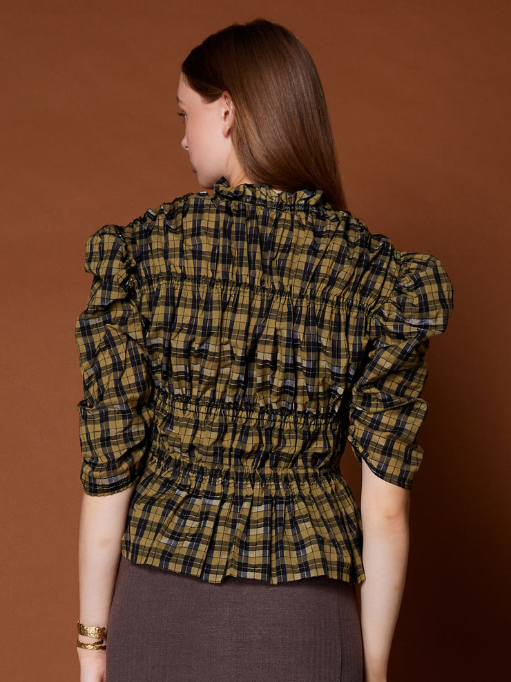 Marquetry Check Ruched Top