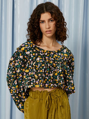 Figurative Floral Cropped Top