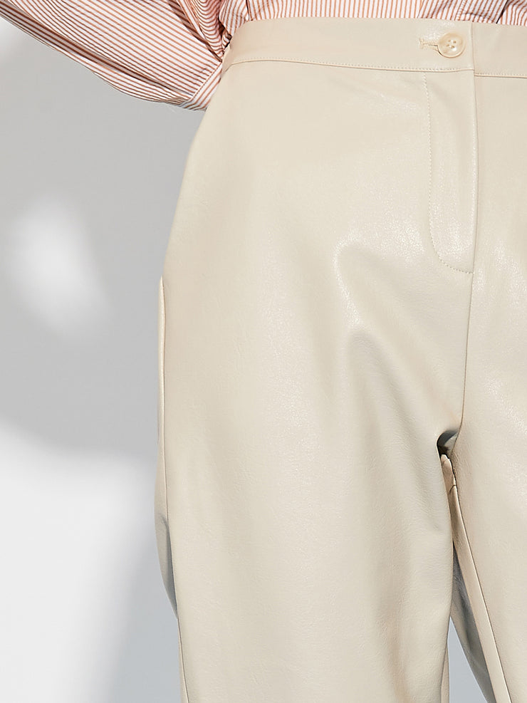 Outlet Faux Leather Trousers