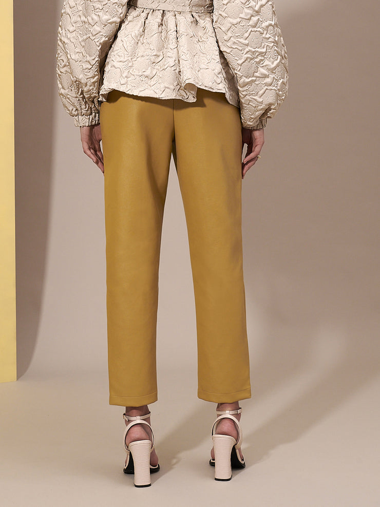 Blonde Faux Leather Trousers