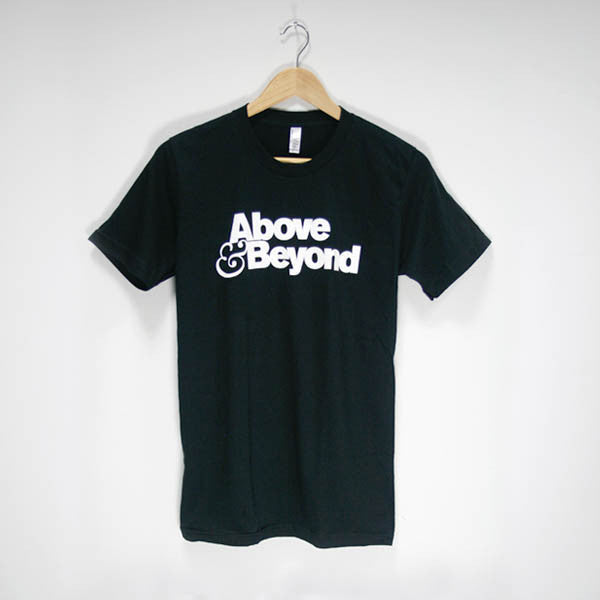 Mens Above & Beyond White Stacked Logo T-Shirt (Black)