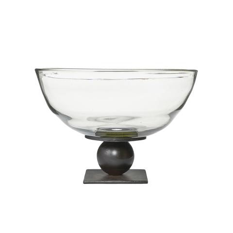 Jan Barboglio Evolucion Serving Bowl has a mouth blown clear glass bowl on an iron ballin ball and square wrought iron base 13x13x9 Great gift Serving Piece