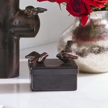 Load image into Gallery viewer, Barboglio Golondrina Box Keepsake box with two cast iron swallows, birds and leather insert Dimensions 4IN x 3IN x 3IN 1463 with Cruz d'Amor Cross 7244 Gift Home Decor