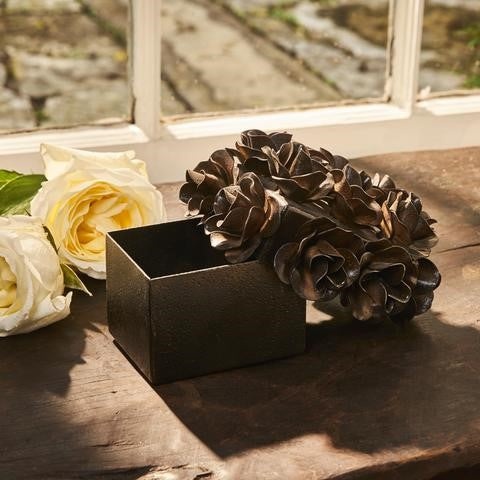Barboglio Flores Keepsake Box with forged iron roses on the lid Leather insert Great gift idea 1468