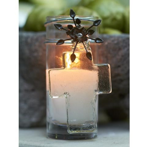 Barboglio Adelita House Blessing Cross Vela poured candle in clear glass votive with mouth blown clear glass cross Features signature iron flower ornament Ideal for housewarming or wedding gift 2083