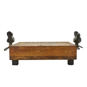 Jan Barboglio Las Golondrinas Charola Square Cutting Board Small square rough-hewn cutting board with cast iron bird handles and cube feet Hand hewn rough finish 2111 Dining Server