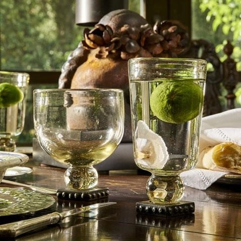 Barboglio Todo Goblet mouth blown all-purpose clear glass on beaded iron stand desserts cocktails flowers Each goblet is handmade 3174CL