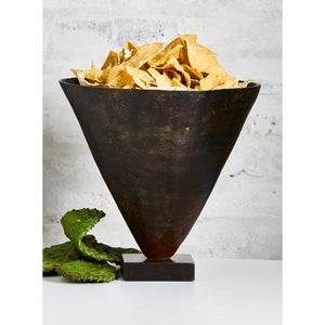 Barboglio Tornado Vessel wax cast iron conical vessel with removable clear glass insert. For flowers, ice, chips 3574