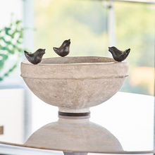 Load image into Gallery viewer, Jan Barboglio Jacopo Vessel Cement Bowl with 3 Cast iron Birds On Rim Iron Base Great versatile centerpiece gift Dimensions 19IN x 19IN x 12IN Home Decor 3590