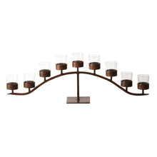 "Load image into Gallery viewer, Jan Barboglio Arco d' Mesa candelabra with 9 clear glass vessels on wrought iron base  Dimensions: 44""w x 7""d x 14 1/2"" Home Decor 4227S"
