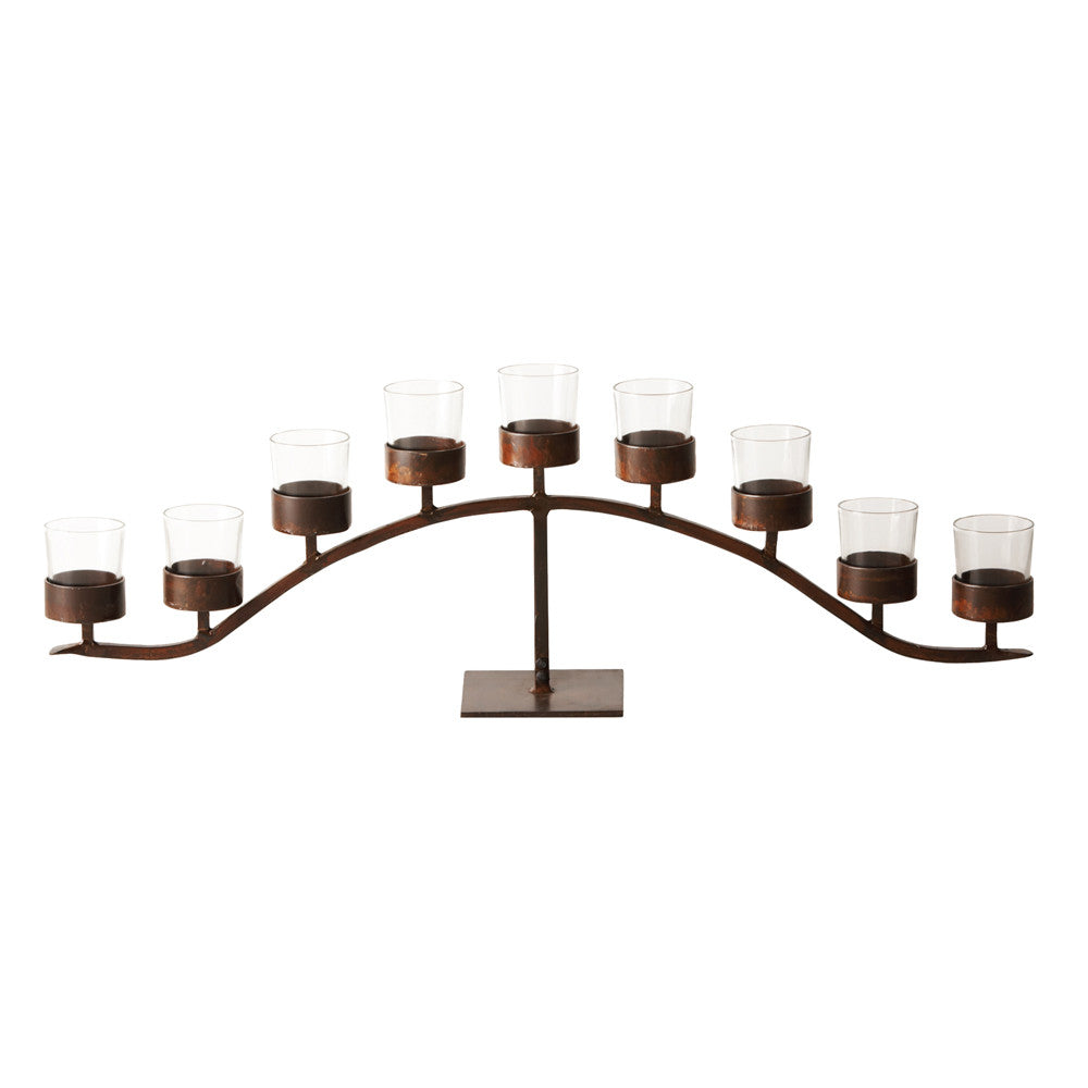 Jan Barboglio Arco d' Mesa candelabra with 9 clear glass vessels on wrought iron base  Dimensions: 44