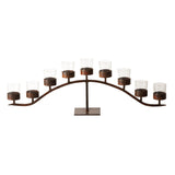 "Jan Barboglio Arco d' Mesa candelabra with 9 clear glass vessels on wrought iron base  Dimensions: 44""w x 7""d x 14 1/2"" Home Decor 4227S"