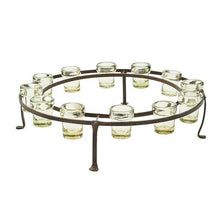 Load image into Gallery viewer, Jan Barboglio El Riel Redondo D' Mesa Candelabra is a cast iron circular rail with 12 mouth blown heavy rimmed clear glass vessels Great for votive candles flowers candy and much more 4245 Home Decor