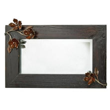 "Load image into Gallery viewer, Jan Barboglio Pasion D'isa Wall Mirror wood frame mirror with 1.25"" beveled mirror and forged iron passion flowers. Hang horizontal or vertical 5364"