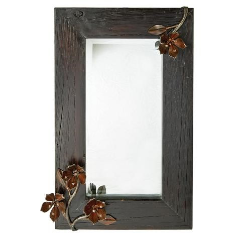 "Jan Barboglio Pasion D'isa Wall Mirror wood frame mirror with 1.25"" beveled mirror and forged iron passion flowers. Hang horizontal or vertical 5364"