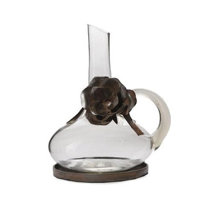 Barboglio Jarra Juana Glass Carafe - Mouth blown clear glass carafe with handle, forged iron rose on leather cord and iron coaster 5408CL