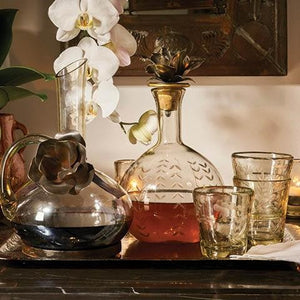 Barboglio Jarra Juana Glass Carafe - Mouth blown clear glass carafe with handle, forged iron rose on leather cord and iron coaster 5408CL Guadalupe Decanter 5409