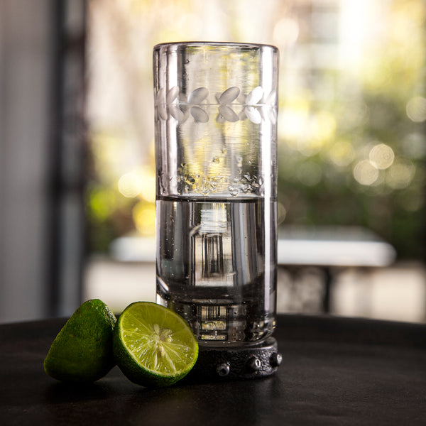 Barboglio Zack Triple Shot Glass is mouth blown and has laurel engraved into the clear triple shot glass on a beaded iron base. Both durable and beautiful  Sometimes bigger is better!  Dimensions 2x2x4 5415CL Glassware Barware