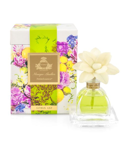 Agraria PetiteEssence Diffuser Set Monique Lhuillier Citrus Lily includes one white flower handmade with thin slices of sola wood As the perfumed essential oils are absorbed through the cotton wick petals will change to color of the oil and stay fragrant up to six months The individually boxed Petites are perfect gifts and an excellent way to add a spot of fragrance to your home or office 71243 Home Fragrance