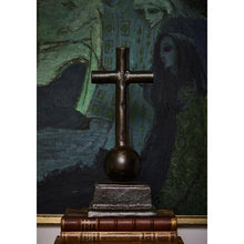Load image into Gallery viewer, Jan Barboglio Capilla Cruz Cross Wax cast iron cross rests on ballin and stand 7242 Home Décor House Blessing Gift