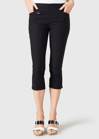 Black Lisette 767 Capri 21.5 inseam 8.5 Leg Opening Flaterie Fit Magical Prada Lycra Front Seam 2 Front Pockets Washable Oprah Magazine Designer Womens Clothing