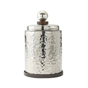 Jan Barboglio El Puro Hielo Ice Bucket with Fitted Lid - Double-walled, double-hammered, stainless steel ice bucket with fitted lid and cast iron coaster 7957 New 2019 Barware