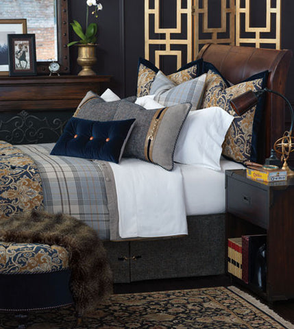 Eastern Accents Arthur Collection Get whisked away to a 19th-century aristocratic mansion with luxurious Arthur. Its handsome plaids create a tailored backdrop worthy of Savile Row's bespoke suit makers while richly colored floral textiles recall sumptuous medallion-pattern rugs. Adorn the regal collection with lavish velvet pillows or cross-merchandise with the faux fur Mogli Minx throw for added texture.  Shown with Eastern Accents Mogli Minx throw Home Decor Bedding