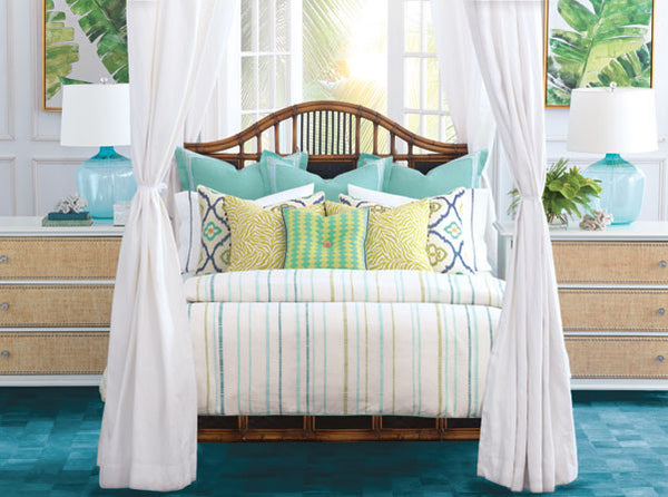 Barclay Butera Azul Indulge luxury tropical paradise  bright and airy sophisticated island breezy textiles exotic mother-of-pearl embellishments exude glamour comfort while richly colored motifs evoke faraway lands. eclectic yet harmonious blend of patterns and colors