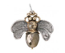 "Load image into Gallery viewer, Waxing Poetic Bee Brave Honey Bee Pendant Sweet sentiments and good cheer help the whole hive hum.  A glorious twisted sterling silver wire wingspan carries an etched bee with the back side of the pendant reading BEE BRAVE. The body of the bee is a natural stone pyrite.  For a sophisticated take on the bee necklace, a Bee Brave Pyrite pendant from Waxing Poetic will be a modern addition to your collection Materials: Sterling Silver Brass Resin Charm Size: 1.25"" BEE4MS-PYR Graduation Gift"