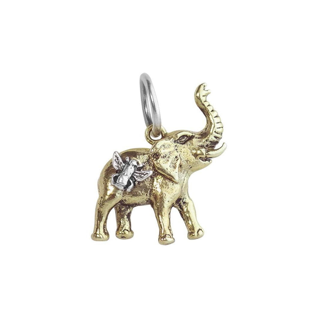 This little charm is so dear! Bee Saved Elephant Charm is highly detailed, cast in bright brass with engraved detailing and joined by a jubilant sterling silver bee The reverse side is etched with BEE SAVED Materials Brass and Sterling Silver BSE2MS