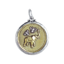 Load image into Gallery viewer, Celebrating tenacity, honor, preservation and love, features 2 of our favorite examples of nature's creation, dimensionally rendered in brass with signet-style detailing two-sided design Bee Saved Elephant Pendant features a graphic representation of a joyful elephant joined by two tiny sterling silver bees on one side larger bee with the words Bee Saved on other side all framed by sterling silver bezel BSE4MS Fine Jewelry