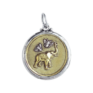 Celebrating tenacity, honor, preservation and love, features 2 of our favorite examples of nature's creation, dimensionally rendered in brass with signet-style detailing two-sided design Bee Saved Elephant Pendant features a graphic representation of a joyful elephant joined by two tiny sterling silver bees on one side larger bee with the words Bee Saved on other side all framed by sterling silver bezel BSE4MS Fine Jewelry