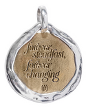 "Back Waxing Poetic Eveningstar Pendant Night sky toned Swarovski crystal rocks back a crescent focal with a crystal star detail above. Like each night's renewed moon, backside messaging reads; ""forever steadfast, forever changing"" honoring transformation and the amazement of each new day"