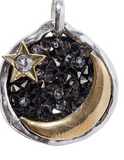 "Waxing Poetic Eveningstar Pendant Night sky toned Swarovski crystal rocks back a crescent focal with a crystal star detail above. Like each night's renewed moon, backside messaging reads; ""forever steadfast, forever changing"" honoring transformation and the amazement of each new day"