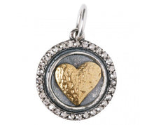 Load image into Gallery viewer, Waxing Poetic Hearts Content Heart Charm HC2MS Love is all you need; a signature style waxy heart sits atop a round sterling silver wax seal, , surrounded by a halo of pave set Swarovski crystals.  Materials: Sterling Silver, Brass & Swarovski Crystal  Size: Charm is 3/4 inch Gift