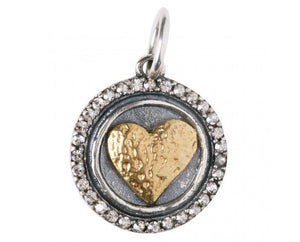 Waxing Poetic Hearts Content Heart Charm HC2MS Love is all you need; a signature style waxy heart sits atop a round sterling silver wax seal, , surrounded by a halo of pave set Swarovski crystals.  Materials: Sterling Silver, Brass & Swarovski Crystal  Size: Charm is 3/4 inch Gift