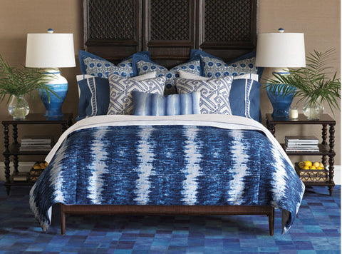 Indigo collection, Barclay was inspired by extravagant holidays in the Greek islands. The deep azures and rich sapphire of the pristine Mediterranean pair with a Shibori motif and lattice patterns for a look worthy of sun-soaked shores