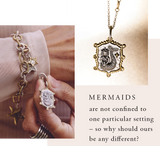Waxing Poetic enchanted Lyric and Lore Charm trilogy beguiling mermaid is featured on the front surrounded by frame of brass dotted with Swarovski crystals a benediction FOLLOW THE LIGHT on revers mermaids LL2MS-MER Jewelry