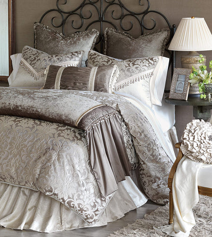 Eastern Accents LeBlanc Collection brings grandeur to its light neutral tones elegant floral damask is reminiscent of aristocratic textiles of past times glamorous and distinguished in stature Glittering pearly tones and regal beaded trims make LeBlanc fit for a palace Made in USA BDK-367