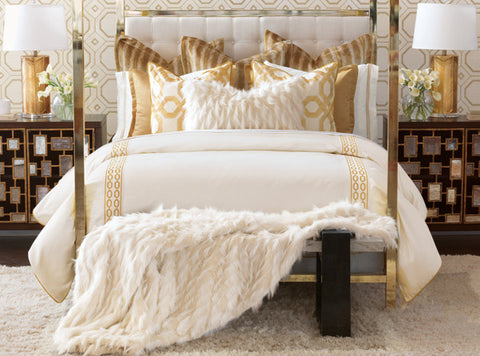 Barclay's done it again! Luxe is extravagant in rich faux fur embellishments, a shimmering golden color palette, and a regal geometric pattern. With luscious textures and opulent hues, it is the ultimate bedding collection for the discerning home